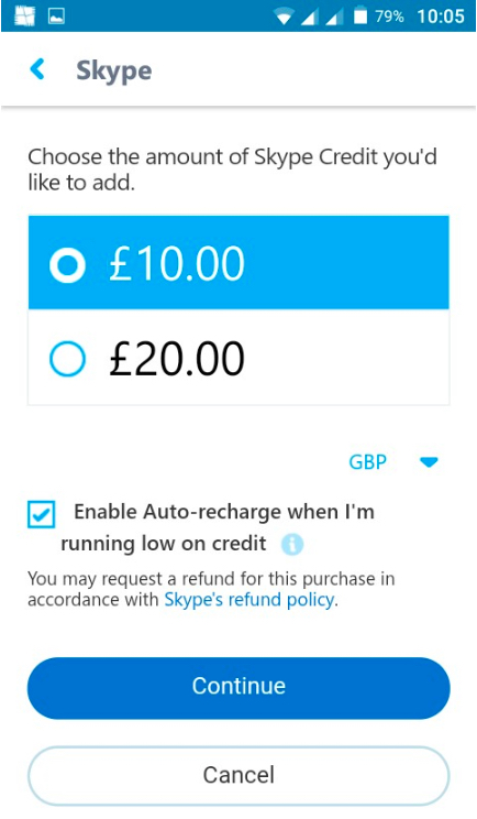 imagem de crédito skype adicionar