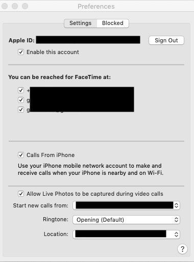 sign in image facetime