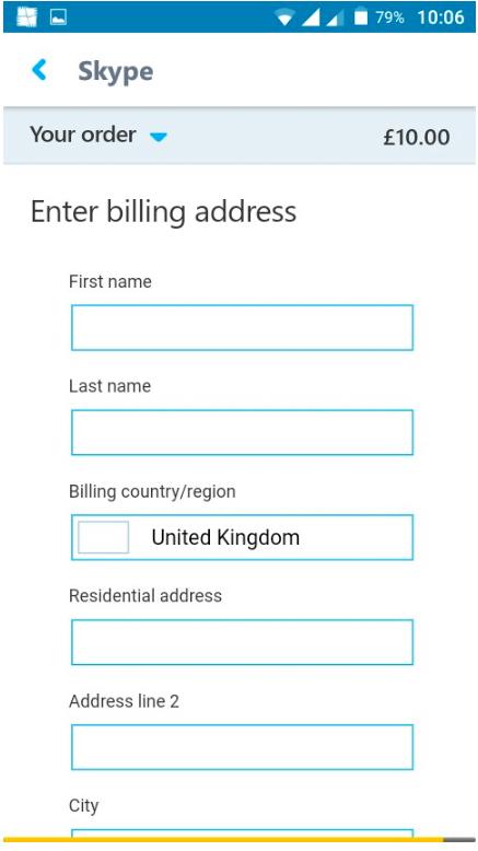 skype engedélyezze a számlázási címet