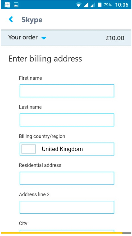 skype paganahin ang billing address