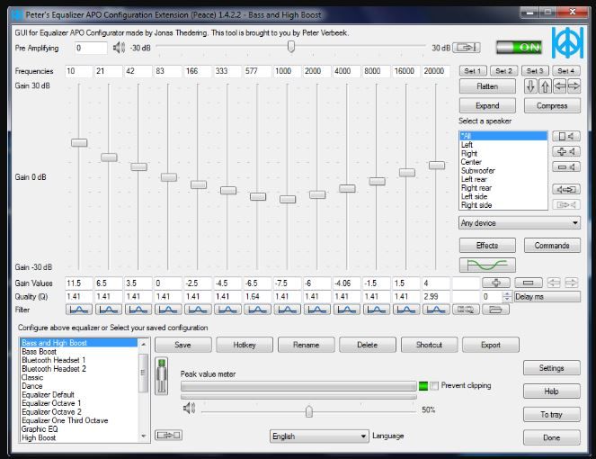 Peace Equalizer, interface Equalizer APO For PC Windows