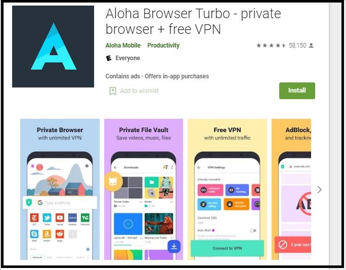 Aloha Browser + Free VPN for PC